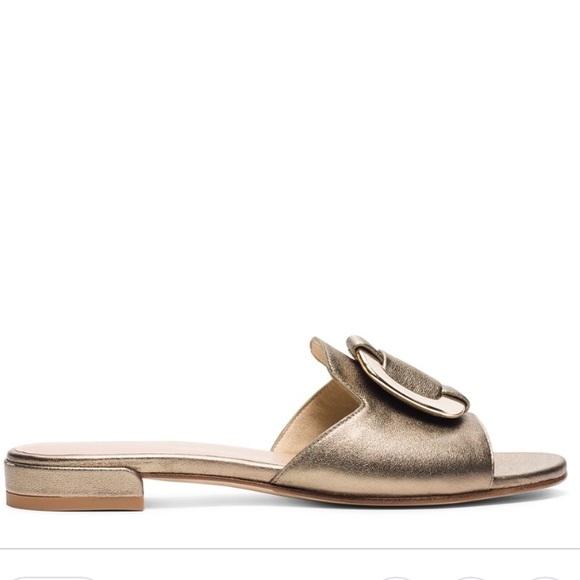 7e688187f804 Stuart Weitzman Shoes | New Odeon Gold Sandals Slides 5 | Poshmark